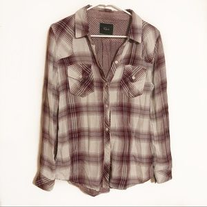 Rails red and white button up flannel top